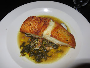 Photo: Crusted cod with Puy lentils, kale, and clams