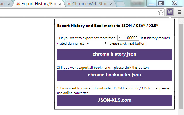 Export History/Bookmarks to JSON/CSV*/XLS*