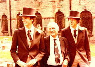 Photo: Maxed out @ Moss Bros! With my brother Simon and Grandfather Harold 'Pop' Bull @ Simon's wedding to Jo, Yorkshire 1977!