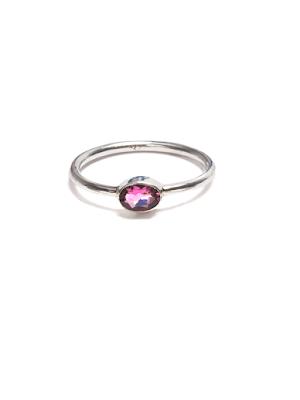 Turmalin, rosa i tunn silverring