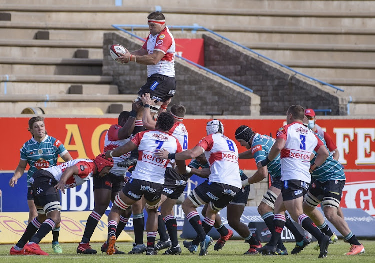 Willem Alberts of Golden Lions jumping for the ball in the line out during the Carling Currie Cup match between Tafel Lager Griquas and Xerox Golden Lions XV at Tafel Lager Park in in Kimberley, South Africa.