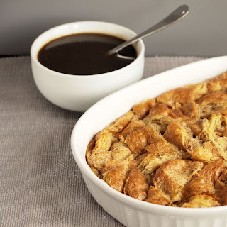 Croissant Pudding with Whiskey Salted Caramel Sauce.