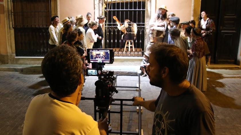 Un momento del rodaje de una escena del documental, en Almería.