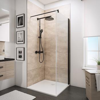 Paroi latérale fixe pour porte de douche pivotante, style industriel, profilé noir