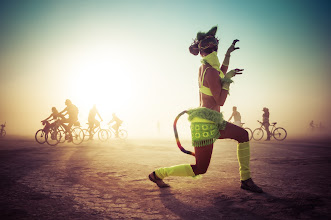 Photo: An huntress in the desert...  Spotted on the periphery of the Bunny March at Burning Man... #BurningMan