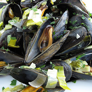 Drunken Mussels with Leek and Lovage