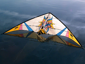 Photo: Masquerade by Wayne Knott of Dreamweaver Kites. Flown and owned at the time by Jim Byrne. The wave had just receded leaving the beach with this mirror like quality.
