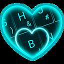 Live Neon Blue Heart Keyboard Theme 6.12.22.2018