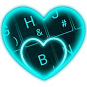 Live Neon Blue Heart Keyboard Theme