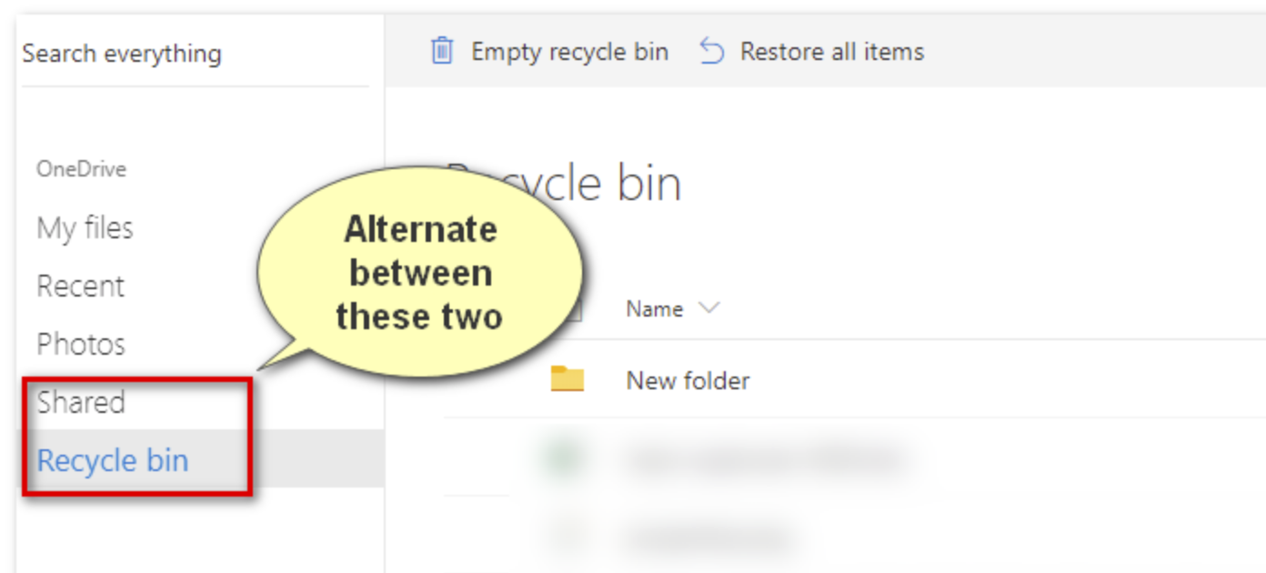 Click on Recycle bin Folder
