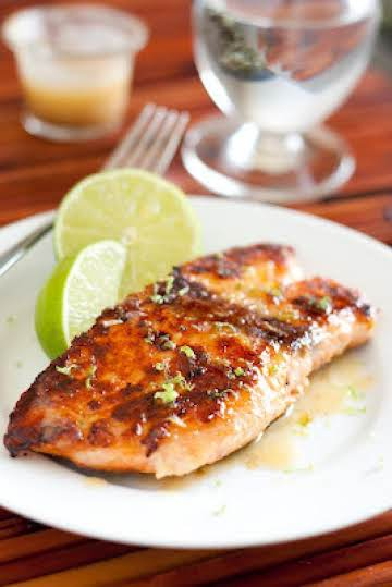 Pan Seared Honey Glazed Salmon with Lime Sauce