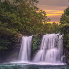 Waterfall by Valeriy Ryasnyanskiy - Landscapes Waterscapes ( tropical, koh kut, nature, waterfall, sunset, scenic, travel,  )