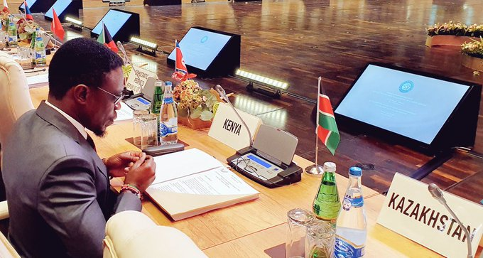 Foreign Affairs CAS Ababu Namwamba at 18th Summit of Heads of State and Government of the Non-Aligned Movement in Baku, Indonesia