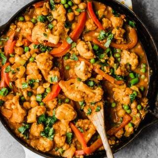 Thai Peanut Coconut Cauliflower Chickpea Curry Recipe
