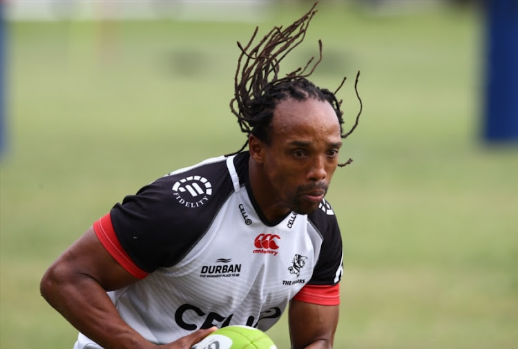Odwa Ndungane during the Cell C Sharks training session at Growthpoint Kings Park on August 29, 2017 in Durban.