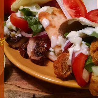 Vegan Gyro with Seitan (or Portobello Mushrooms) & Tzatziki Sauce