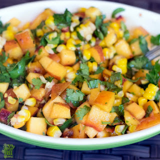 Grilled Peach Salsa with Cilantro, Mint and Ginger