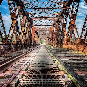 Old Train Bridge by Jeff Klein - Buildings & Architecture Bridges & Suspended Structures ( water, train, bridge, shelton, landscape )
