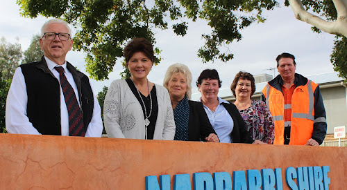 Country University steering committee members Hugh Palmer, Jocellin Jansson, Mayor Cathy Redding, Trudy Staines, Narrabri Shire libraries manager Jenny Campbell and Mike Williams were happy after the announcement yesterday. Absent is committee member Russell Stewart.