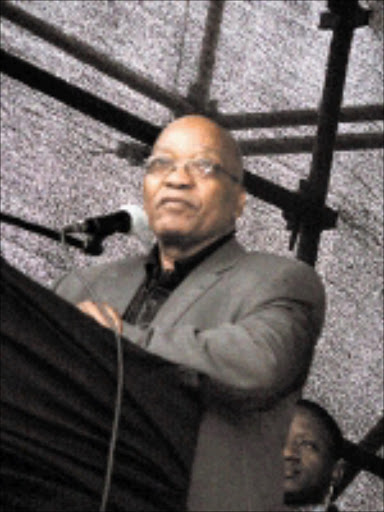 EMBRACED: Jacob Zuma addressing a rally in Limpopo. 20/11/08. Pic. Michael Sakuneka. © Sowetan.
