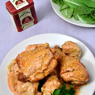 Chicken Paprikash with Dumplings.