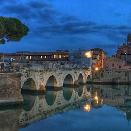 by Mario Horvat - Instagram & Mobile iPhone ( water, reflection, italia, blue hour, sunset, rimini, bridge, iphone, italy,  )