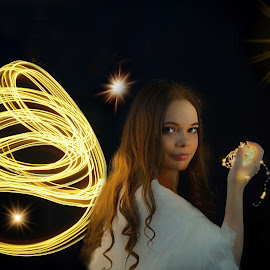 Light painting with Anna by Michaela Firešová - Public Holidays Christmas ( lightpainting, angel, portrait, female )