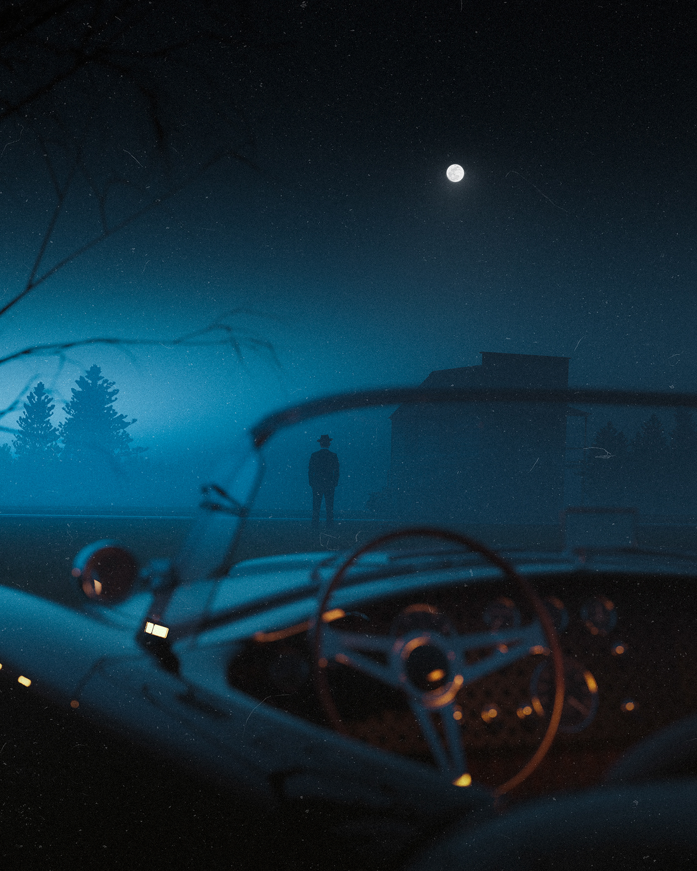 3D automotive   car Cinema concept dark Digital Art  horror movie night