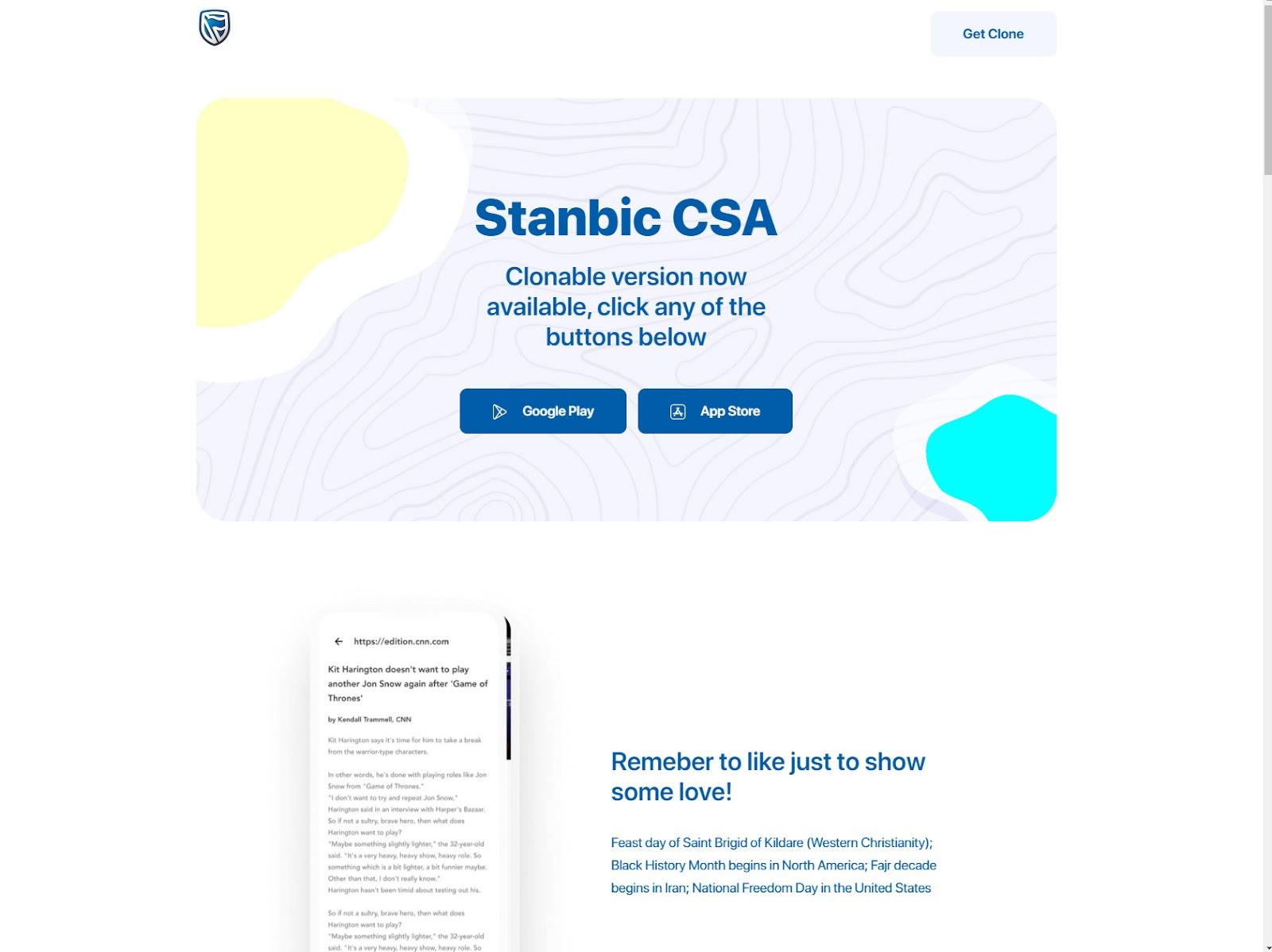 Stanbic CSA homepage