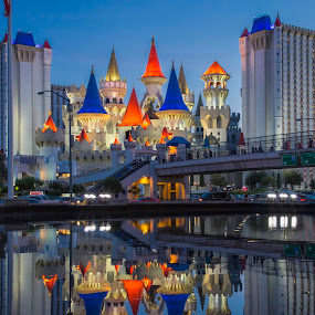 Casting reflections of castles by Deborah Felmey - City,  Street & Park  Skylines ( las vegas, reflection, castles, reflections, landscape, city, nightscape )