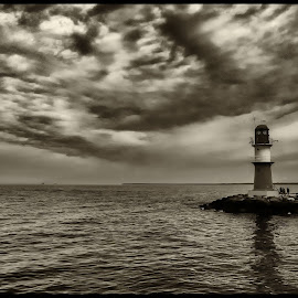Lighthouse by Klaus Müller - Landscapes Waterscapes ( contest, lighthouse, black and white,  )