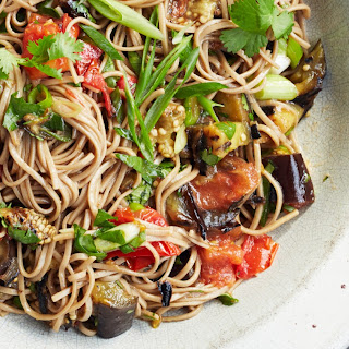 Soba Salad with Grilled Eggplant and Tomato.