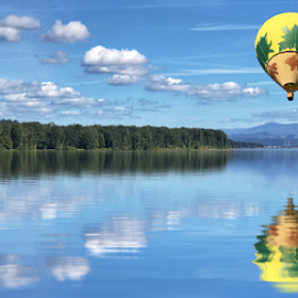 Balloon over the river by Kathy Dee - Uncategorized All Uncategorized ( hot air balloon, reflection, blue, nature, river, clouds, landscape )