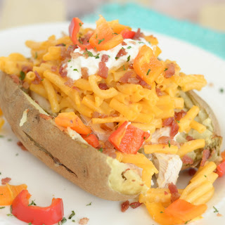 Macaroni & Cheese Stuffed Baked Potatoes.
