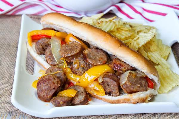 Easy Sausage And Peppers On A Roll.