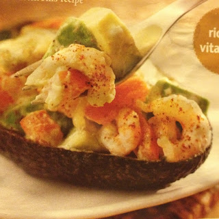 Baked Avocado with Prawns & Cheese.