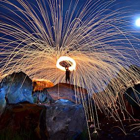 INDONESIAN steel wool by Arifandi Krembong - Abstract Fire & Fireworks ( jember, steel wool, gunung batu, rock, fire, color, colors, landscape, portrait, object, filter forge )