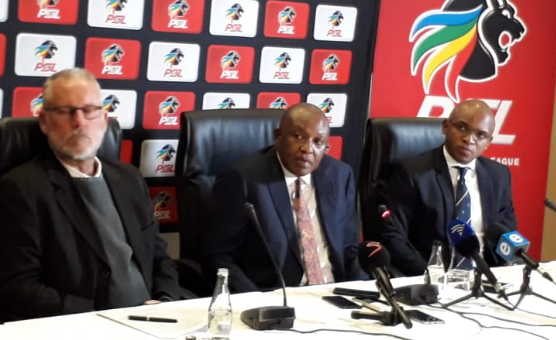 Premier Soccer League (PSL) chairman Irvin Khoza, flanked by two senior officials of the League Prof. Ronnie Schloss (L) and spokesperson Lux September during a media briefing at the PSL Offices in Parktown, has continuosly publicly denounced fan violence and criminality at match stadiums.