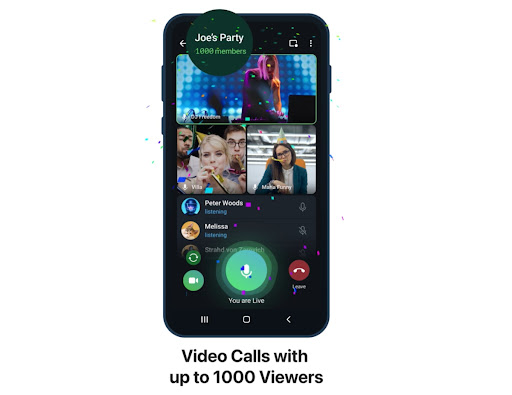 Telegram app update allows up to 1,000 viewers for group video calls