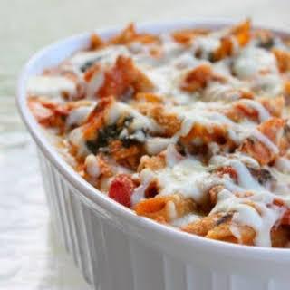 Healthy Three-Cheese Chicken Penne Pasta Bake.