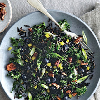 Wild Rice Salad With Kale, Pecans And Blueberries