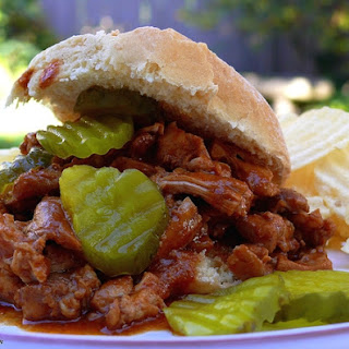 Black Pepper and Molasses Pulled Chicken Sandwiches.