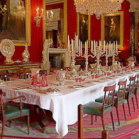 Luxurious dining room at Chatsworth House, England by Pam Blackstone - Buildings & Architecture Public & Historical ( dining room, chandelier, red, luxuury, chatsworth, porcelain, chairs, candelabra, carpets, crystal, gold, table, china,  )