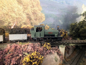 Photo: 019 A broadside view of Arne. The chassis is an old Bachmann 0-6-0 which has had a pony truck added and the body started off as a Chivers Beddgelert, creating a rugged Hunslet working loco .