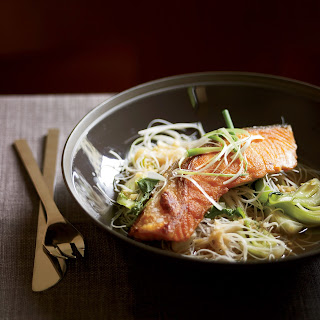 Crisp Asian Salmon with Bok Choy and Rice Noodles.