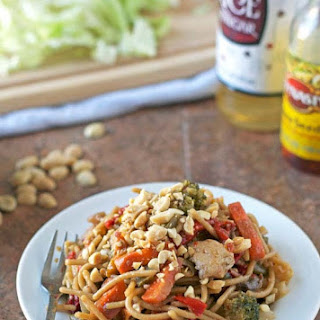 Hot and Sour Noodle Stir Fry with Peanut Chicken