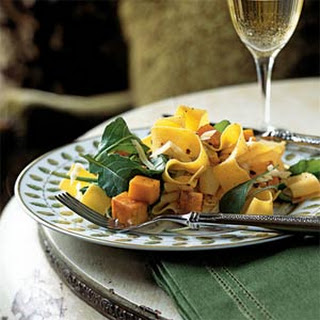 Pappardelle with Roasted Winter Squash, Arugula, and Pine Nuts.