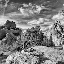Garden of the Gods Cathedral Rock by Tony Lobato - Black & White Landscapes ( clouds, blackandwhite, black and white, rocky mountains, colorado, sandstone, rock formation, landscape, garden of the gods,  )
