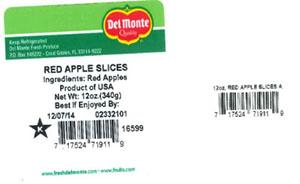 Label, Del Monte Red Apple Slices, 12 oz.