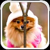 Cute Puppy Zipper Lock Screen
